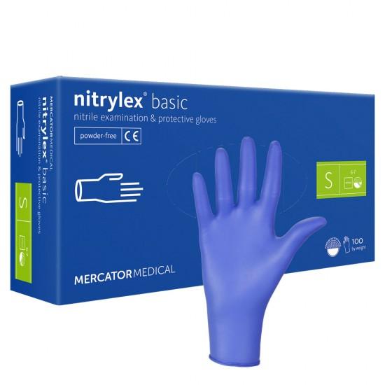 Zili nitrila cimdi Nitrylex bez pūdera S 100gab.