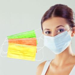 Medicīniskā 3-slāņu maska ar deguna fiksatoru spilgti zaļa 100gab.
