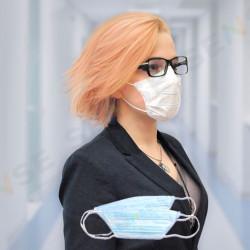 Anatomiska 4-slāņu maska ar deguna fiksatoru zila 50gab.