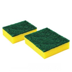 Sūklis ar abrazīvu 9.5x7x3cm dzeltens/zaļš