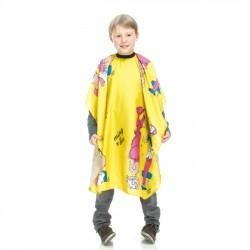 Bērnu apmetnis matu griešanai dzeltenas krāsas