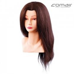 Manekena galva frizieriem - brūnie mati 40cm
