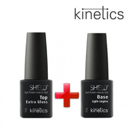 Kinetics Extra Gloss Top 11ml +Kinetics Shield Glossy Light bāze 11ml