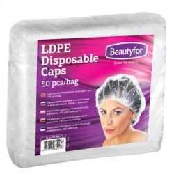 Beautyfor vienreizējas polietilēna cepurītes, 50 gab.