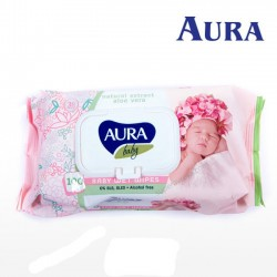 Mitrās salvetes Aura Baby ar alvejas ekstraktu 100gb